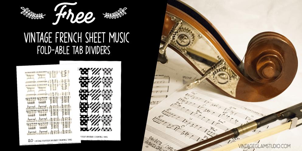 vintage violin and sheet music