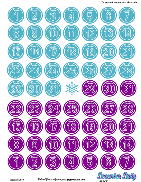 December daily numbers printable