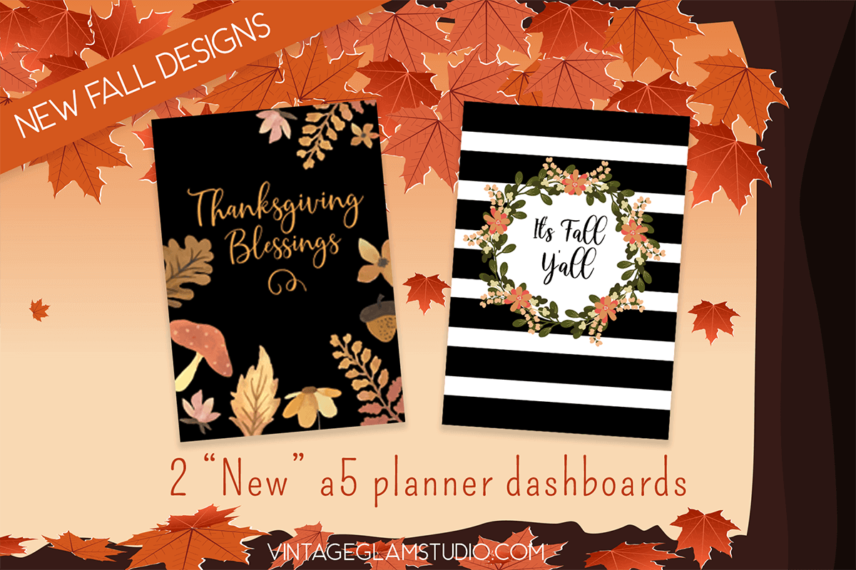 fall a5 planner dashboards