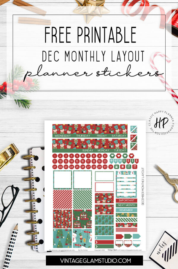 December monthly planner stickers