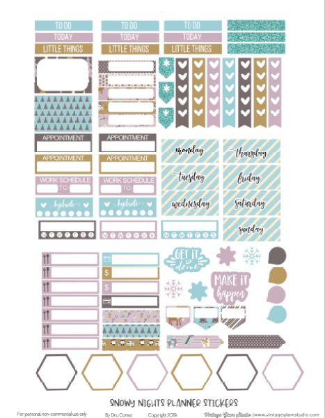 Snowy nights planner stickers