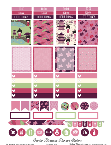 Cherry Blossoms planner stickers, pink