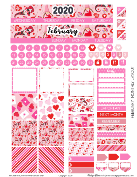 Feb monthly planner stickers