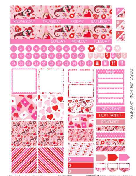 february planner stickers printable