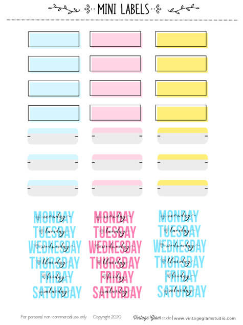 pastel planner stickers printable