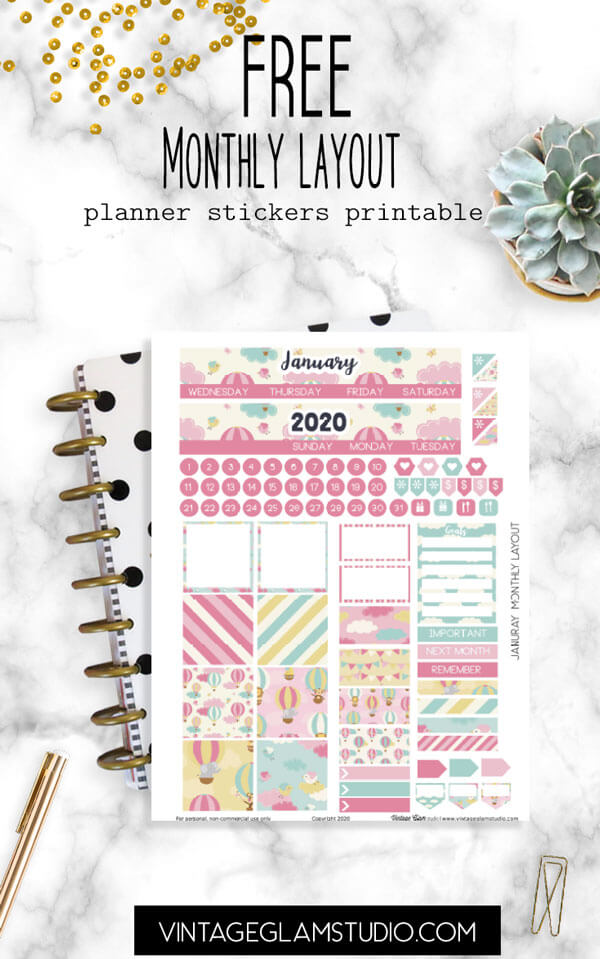 january monthly layout planner stickers