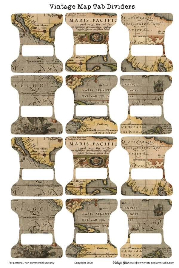 vintage map tab dividers