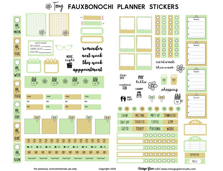 fauxbonochi planner stickers
