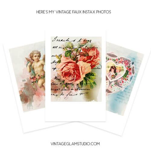 Vintage Valentine Ephemera Instax Photos