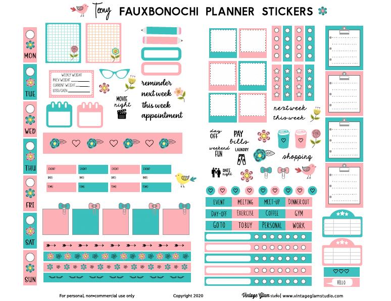 fauxbonichi planner stickers printable