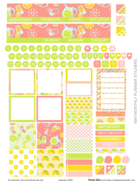monthly layout planner stickers printable