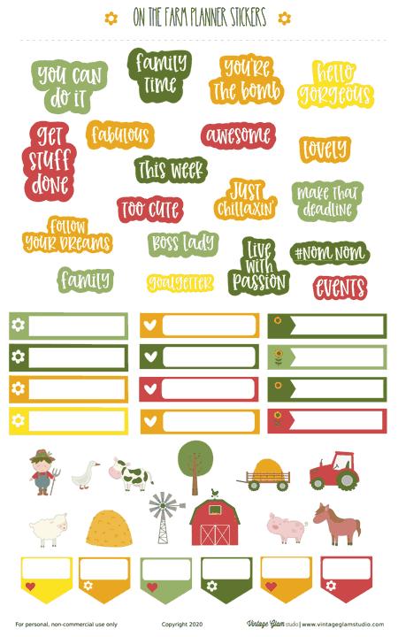 farm planner stickers