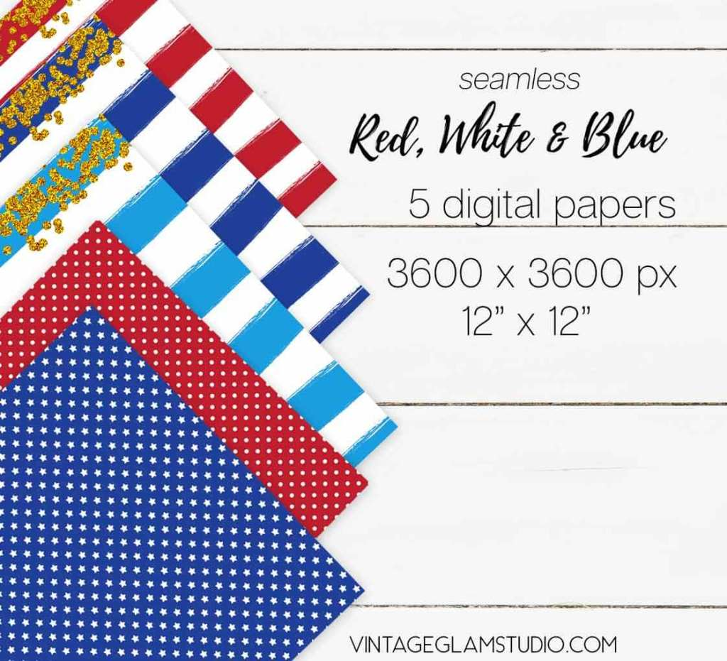 patriotic digital paper set