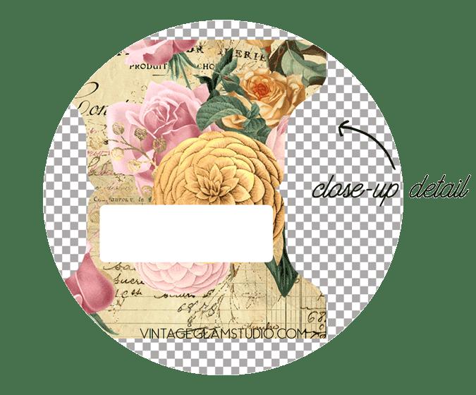 french ephemera tab close-up