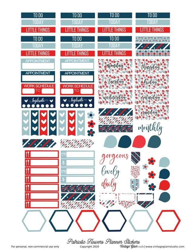patriotic planner stickers