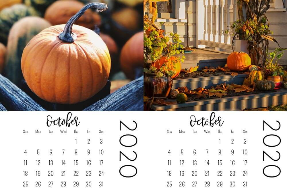 october mini calendars