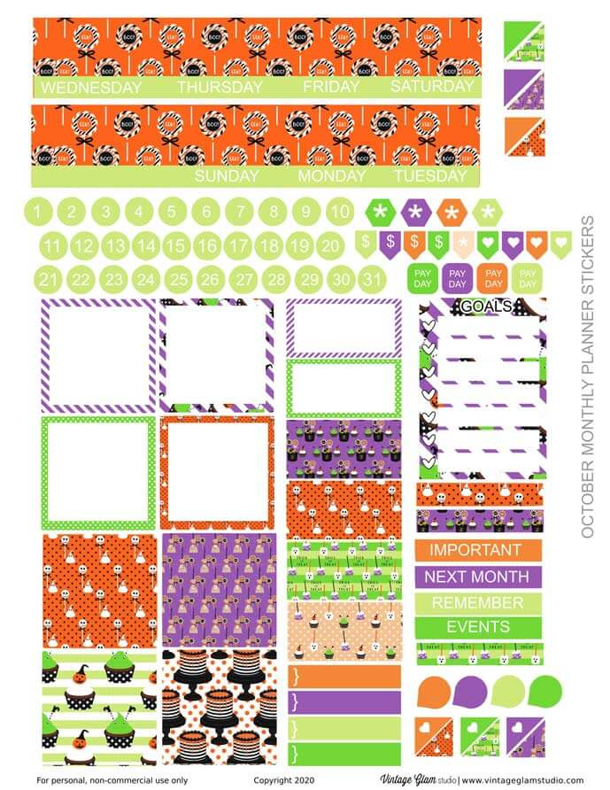 monthly layout planner stickers, no header