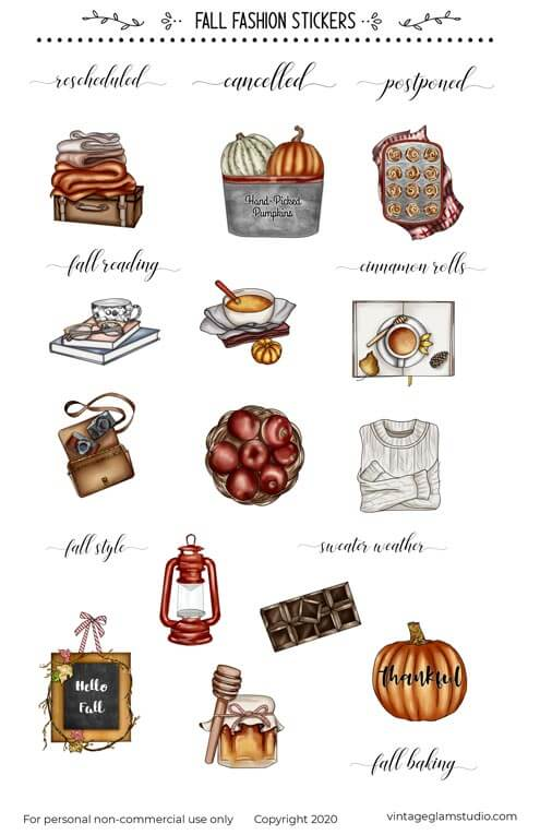 fall fashion planner stickers