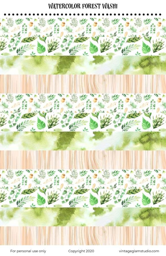 forest watercolor washi