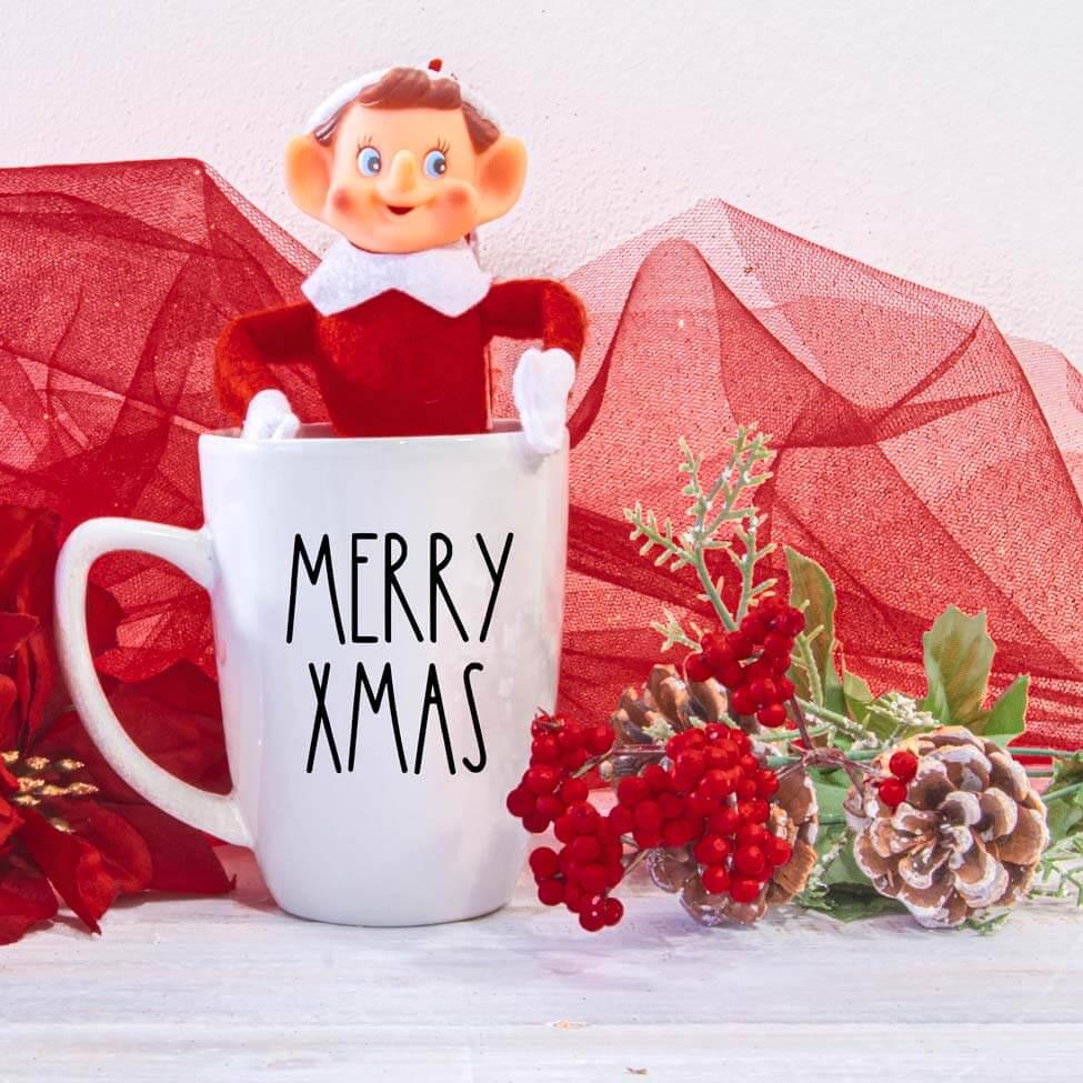 elf on the shelf mug mockup