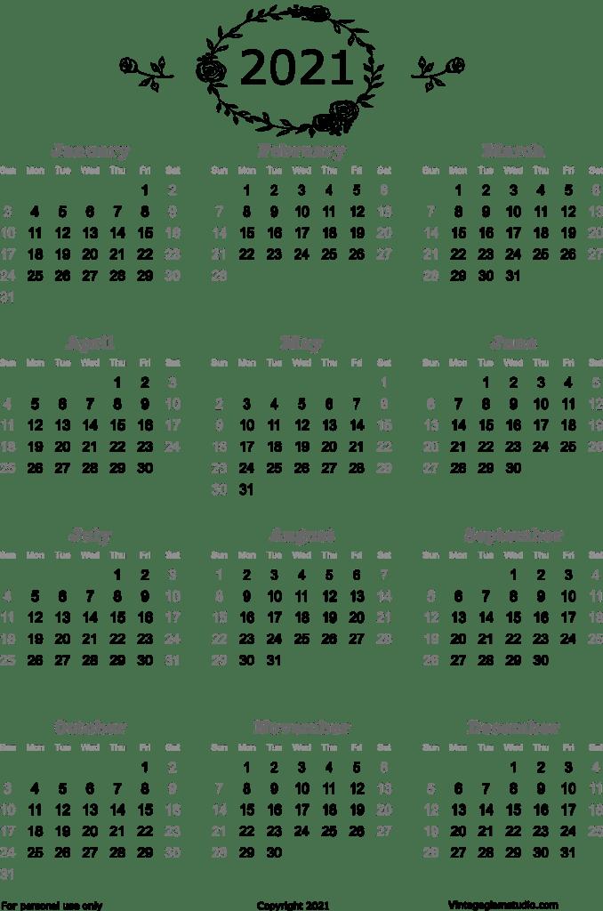 doodled annual  calendar