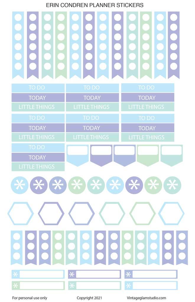 winter colors erin condren planner stickers