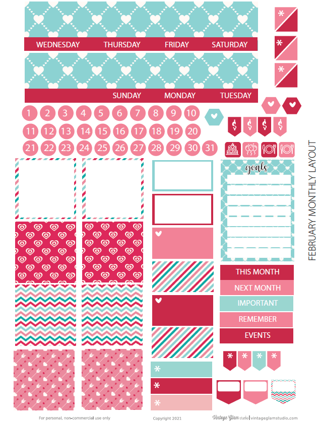 monthly layout planner stickers, no header