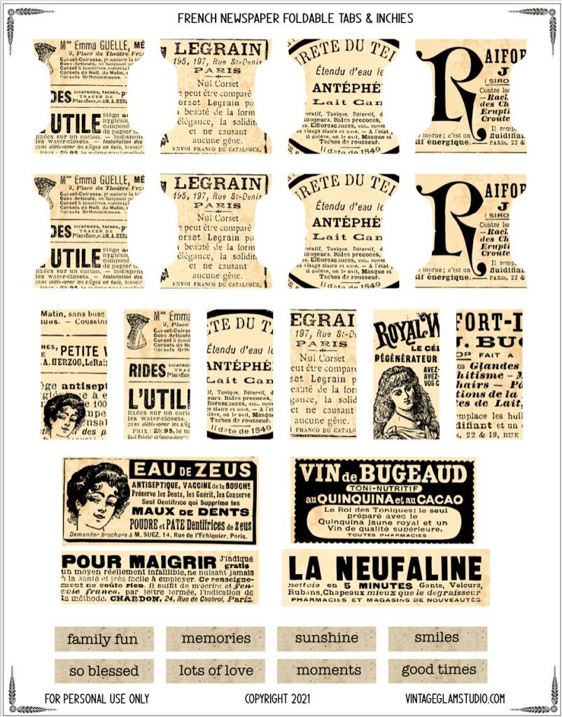 vintage french newspaper foldable tabs