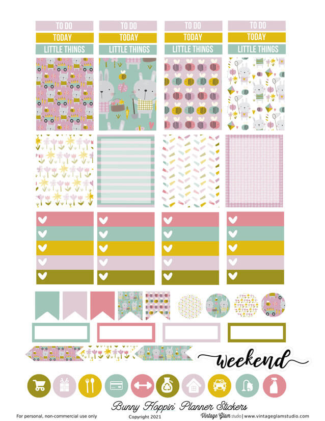bunny planner stickers