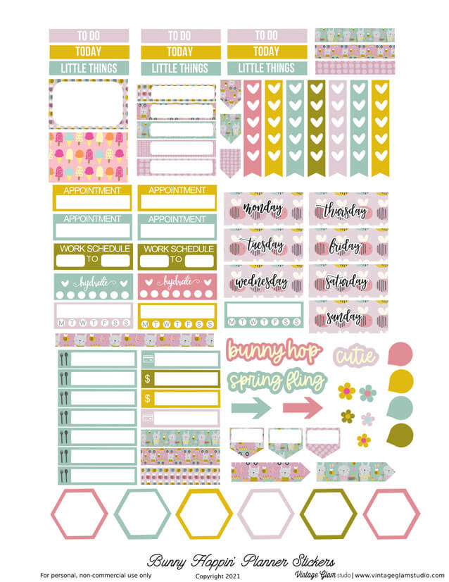 lilac bunny planner stickers printable