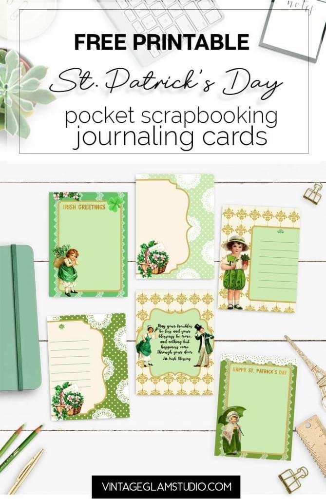 vintage St Patrick's journaling cards