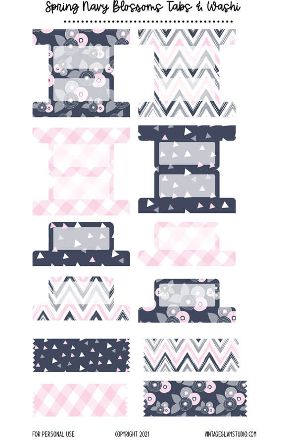 navy tabs and washi planner stickers