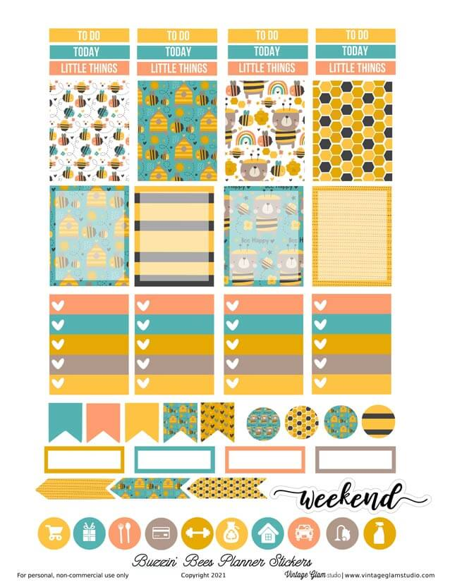 bees planner stickers