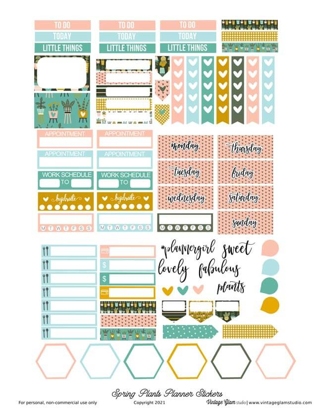 spring plants planner stickers