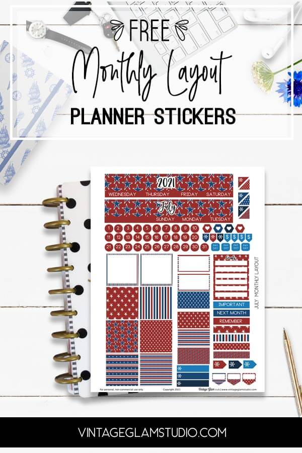 monthly layout, july planner stickers