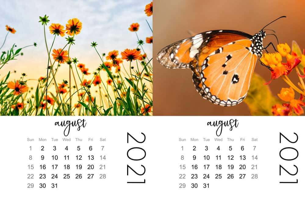 mini calendar, August