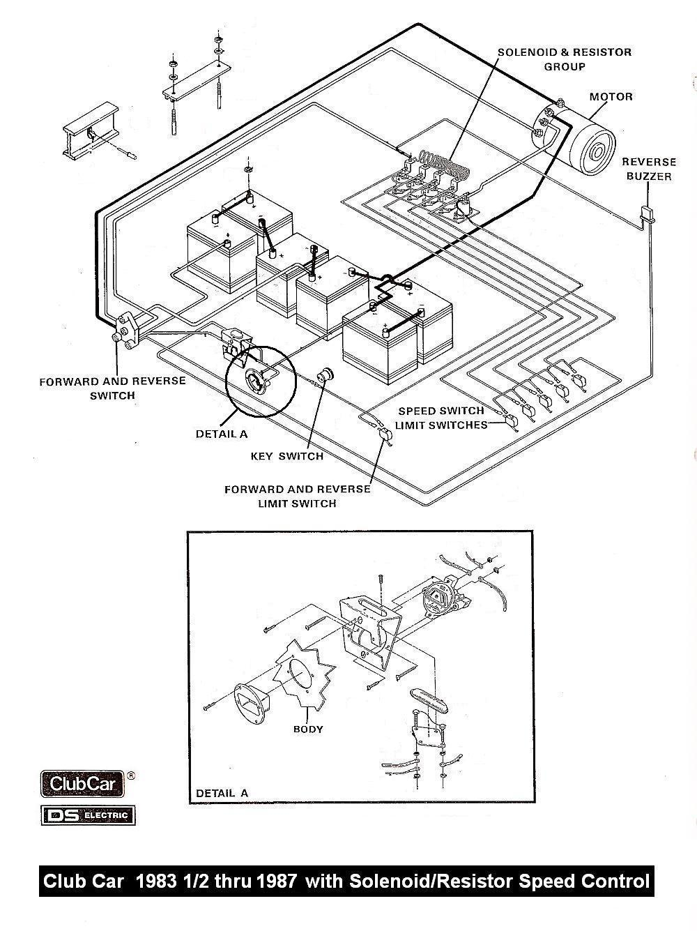 Wiring Diagram For 1983 12 To 1987 Club Car With Resistor And