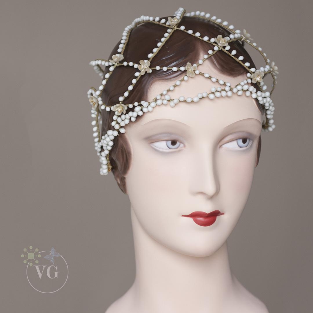 1920s Vintage Cloche Wedding Headpiece Wax Buds