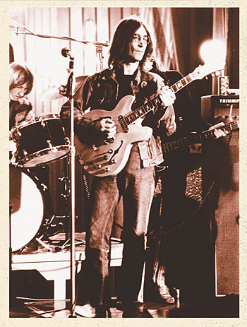 "John Lennon with his Epiphone Casino in December, 1968, on the set of ""Rock 'n' Roll Circus."""