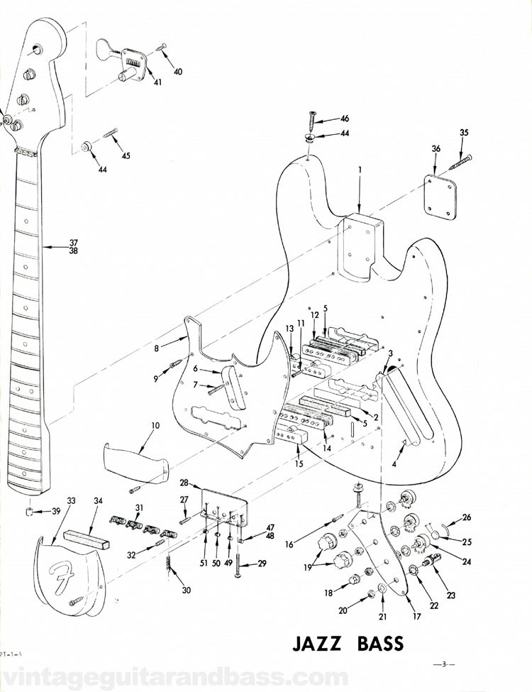 Fender Jazz Bass Part List 1968