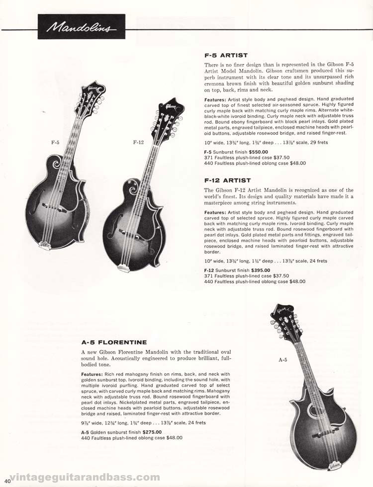 1960 Gibson guitar and amplifier catalog. Page 40