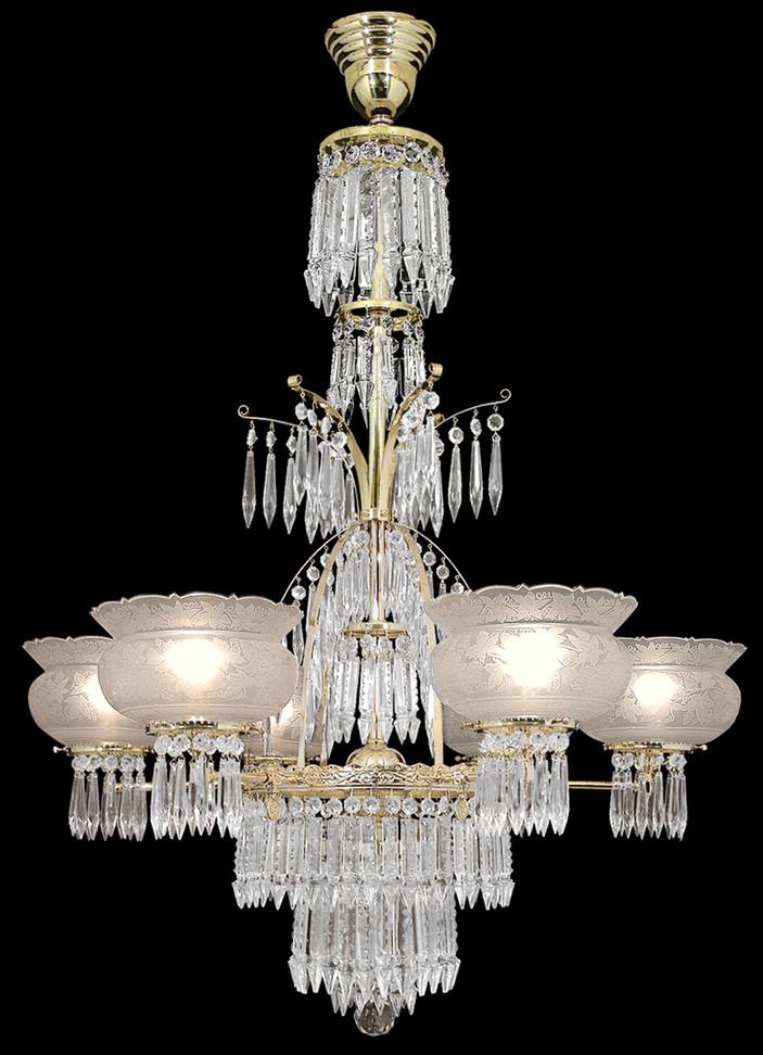 Vintage Hardware  Lighting  Crystal Prism 6 Light Oxley