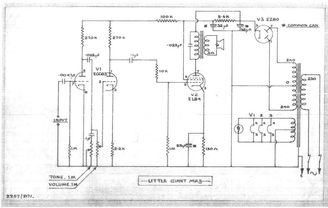 Selmer Little Giant Mk3 Schematic