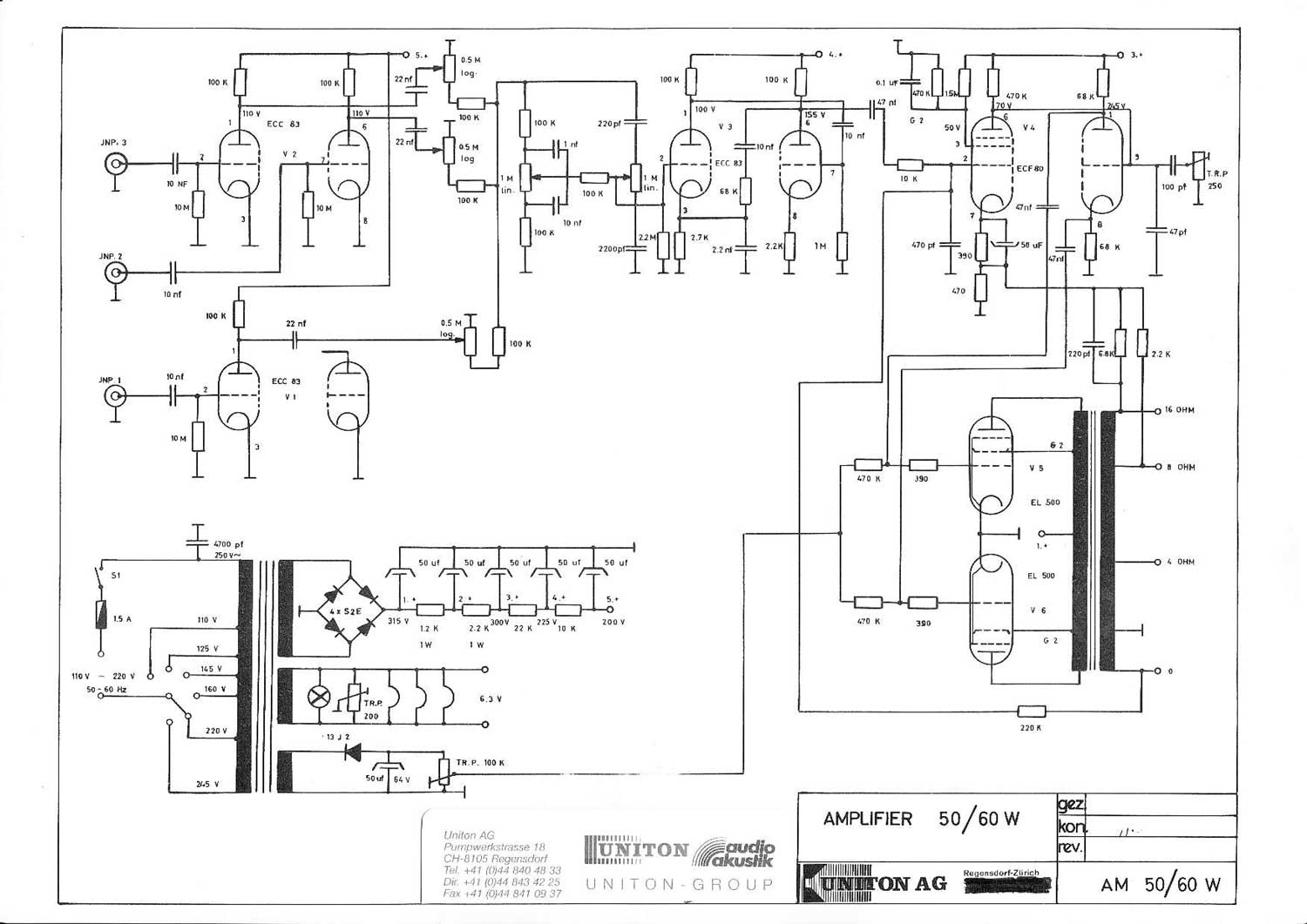 Uniton 50/60 watt Amplifier Head Wiring Diagram