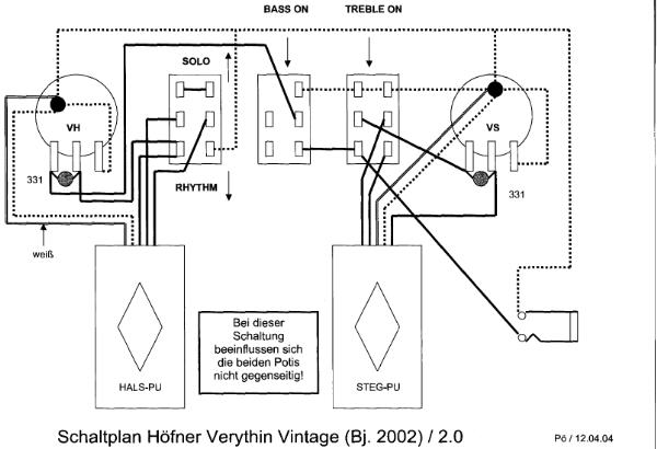 Hofner 500/1 Bass Guitar Schematic Diagram