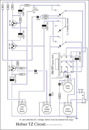 Hofner 5001 Bass Guitar Schematic Diagram