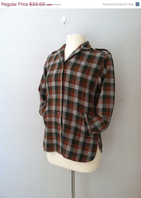 1940s wool plaid vintage jacket