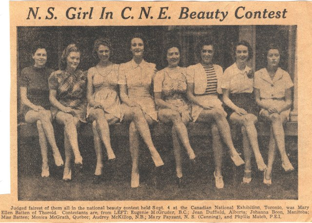 Miss Canada contest held at Toronto's Canadian National Exhibition on 4 September 1940. Photo from the Halifax, Nova Scotia newspaper, the Halifax Chronicle, Tues. Sept. 10, 1940.