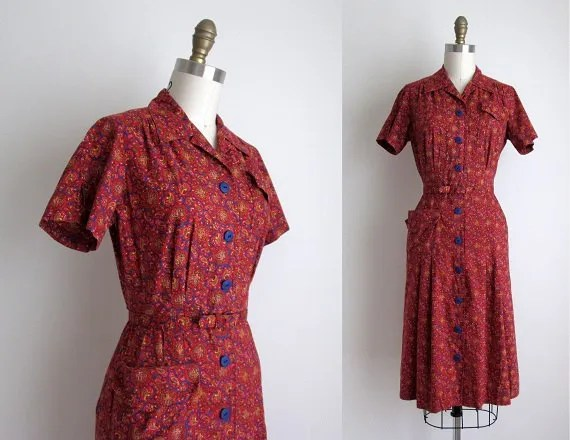 1940s Vintage Shirtwaist Dress