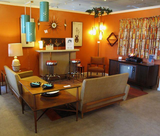 mid-century retro living room